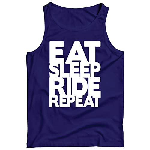 lepni.me Camisetas de Tirantes para Hombre Comer - Dormir - Conducir - Repetir - para Ciclistas - Cotizaciones para Amantes de la Bicicleta (M Azul Multicolor)