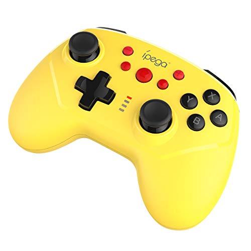 ElecGear Controlador Inalámbrico Compatible con Nintendo Switch, Bluetooth Remote Wireless Mando Pro Controller Gamepad Joypad with Sensor de Movimiento con Turbo, Gyro Axis, Dual Shock (Amari
