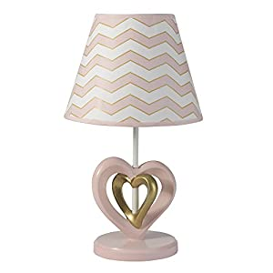 Lambs & Ivy Baby Love Lamp with Shade & Bulb – Pink/Gold/White Heart and Chevron