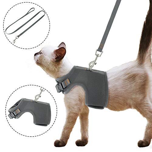 FREESOO Katzengeschirr Geschirre Brustgeschirr Hund mit Leine Reflektierend atmungsaktiv Weiches Netzgewebe