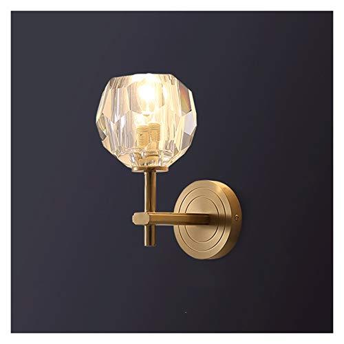 Lámpara de Pared Luz de lujo Lámpara de pared de cristal de cobre 2 cabezas de pared Sconce Iluminación moderna simple Iluminación interior Lámparas de lujo Decoración de la habitación Aplique de pare