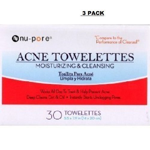 Nu-Pore Acne Towelettes Moisturizing Cleansing 25 Count (3 Pack) by nu-pore