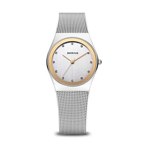 BERING Damen Analog Quarz Classic Collection Armbanduhr mit Edelstahl Armband und Saphirglas 12927-010