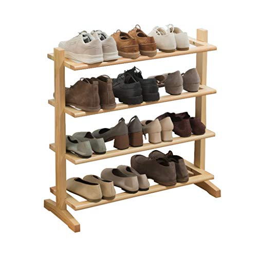 ZZYE Zapatero Estante de Zapatos de Madera Maciza 4 Niveles Organizador estantes Simple Moderno Pasillo Entrada Almacenamiento Compacto Espacio Ahorro Perchero Zapatero