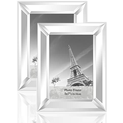 meetart Verspiegelter Spiegeln Spiegelrahmen Spiegel-Fotorahmen Glasscheibe Bilderrahmen Objektrahmen Modern Format 13x18cm 2 Stück Packung zum Hauptdekoration Wandbehang oder Tischdisplay