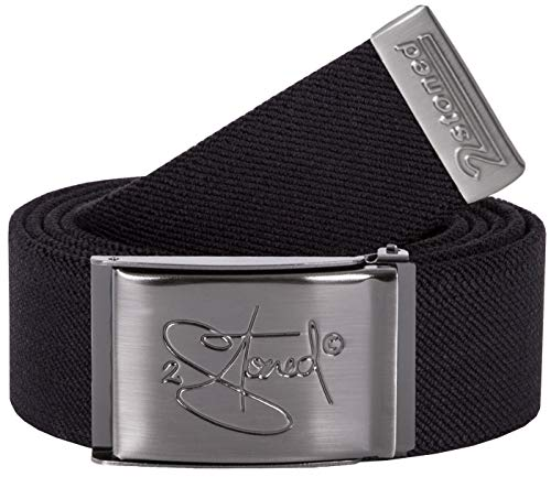2Stoned Stretch-Gürtel elastisch Classic Matt gestanzt, Schwarz, One Size, 130cm - 150cm dehnbar, für Damen und Herren