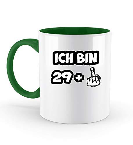 PlimPlom Ich bin 29 + Mittelfinger Tasse Zum 30 Geburtstag Spaßgeschenk Fun Kaffeetasse - Zweifarbige Tasse -330ml-Irish Green