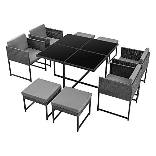 [en.casa] Set de Muebles de Jardín Tarragona para 8 Personas Conjunto de Muebles de Exterior con Cojines Terraza Patio Set de 4 Sillones y 4 Pufs Mesa Polyrattan Gris Oscuro