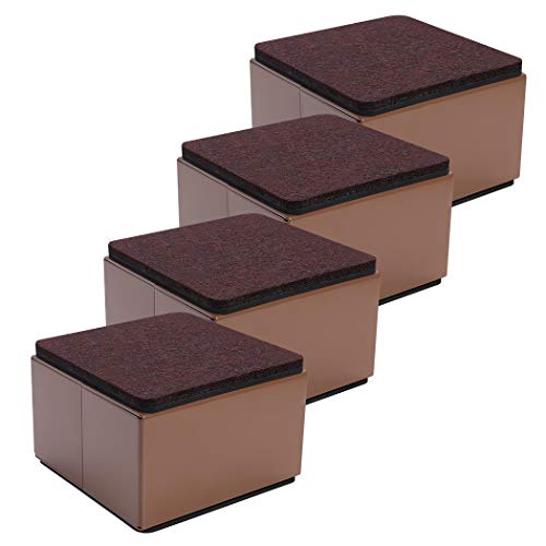 Ezprotekt 5 cm Lift Furniture Risers Carbon Steel Bed Risers, 8 cm Self-Adhesive Heavy Duty Furniture Raisers Adds 5cm Height to Beds Sofas Cabinets Supports 20,000 lbs, Square Brown