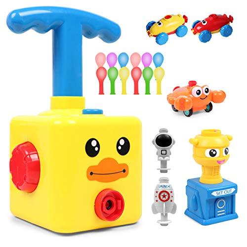 Kinder Ballon Auto Spielzeug, Balloon Powered Launch Car, Luftballonpumpe, Children Inertial Power Ball Car, Balloon Air Powered Vehicle Set, Toys Gift for Kids with 12 Balloons, Educational Toy (B)