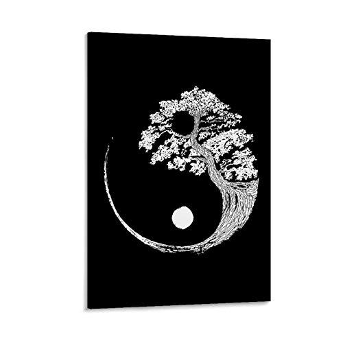 LXYQW Póster de Yin Yang Bonsai Tree y arte de pared, impresión moderna para dormitorio familiar, regalo estético para decoración estética, vintage, online, 60 x 90 cm
