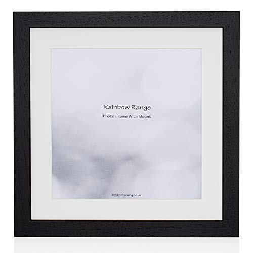 Boldon Framing - Matt Black, Square Thin Photo Frame in Solid Wood with White Wall Mount, 9x7' For Pic 7x5'