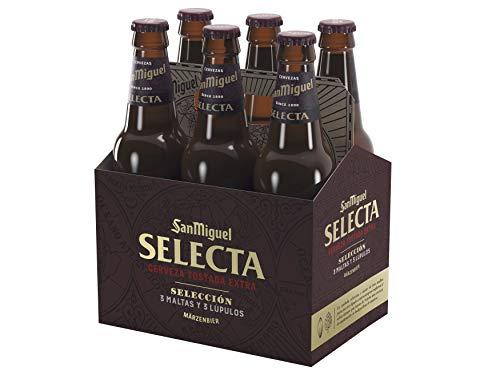 San Miguel Selecta Cerveza Premium Dorada Lager, 6.2%, Pack de 6 x 33cl