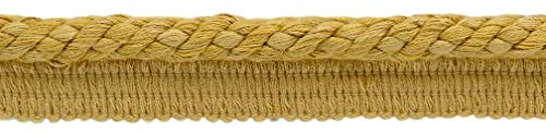 Package of 21.9 Meters|Elaborate 10mm Coin Gold, Gold, Antique Gold Veranda Collection Trim Cord With Sewing Lip|Style# 0038V|Color: Gold - VNT4 (72 Feet / 21.9 Meters)