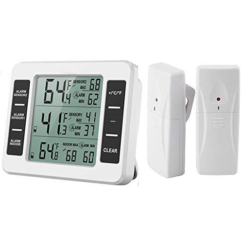 Kühlschrank Thermometer Gefrierschrank Thermometer Kühlschrankthermometer Wireless Digital Thermometer mit 2 Sensoren Temperatur Min/Max Aufzeichnung Perfekt für Hause, Bars, Cafes etc