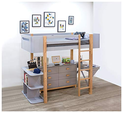 WYFDJ Saiyan Loft Bed with Desk and Bookshelf for Family Bedroom and Student Apartment Saiyan Loft Bed is a Good Helper for Young Students U.s. Local Delivery Goods Can Arrive Quickly