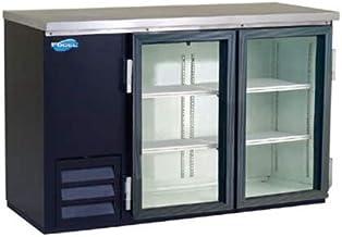 Back Bar Bottle Coolers, Refridgerant, 2 Glass Doors with 4 Shelves, 19 Cubic Feet