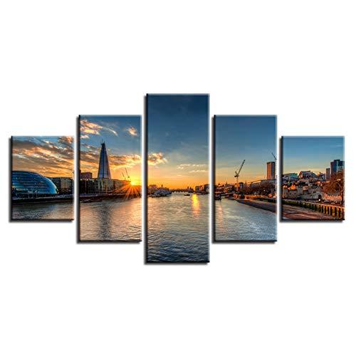 Preisvergleich Produktbild YCOLLC5 Stück Leinwand Leinwand HD Print Poster Home Decor Bilder 5 Stücke Sonnenuntergang Landschaftsmalerei Spektakuläre Fluss Stadtlandschaften Modulare Wand