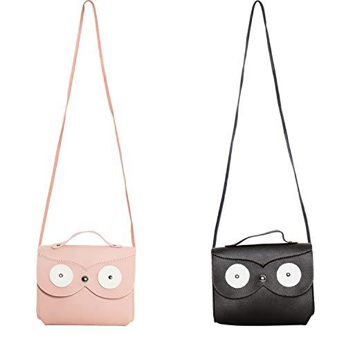 SOTOGO 2 Pieces Little Girl Purses Toddler Purse Owl Purse Cute Princess Handbags Shoulder Crossbody Bag