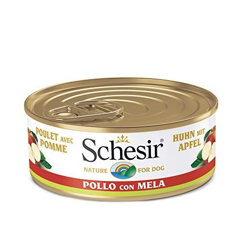 Schesir, Comida húmeda para Perros Adultos, Sabor Pollo con Manzana Preparado con filetes en gelatina con Verdaderos trozos de Fruta - Total 2,7 kg (18 latas x 150 gr) 🔥