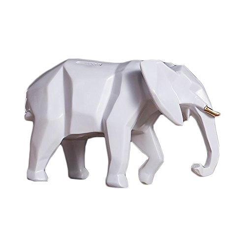 Colias Wing Home Decor Cartoon Animal Geometric Elephant Shape Design Coin Bank Money Saving Bank Toy Bank Cents Penny Piggy Bank-Grey/White