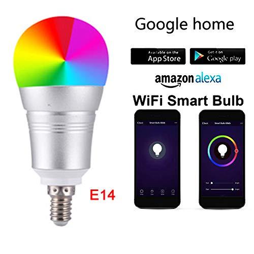 WiFi Smart Light Bulb E14,Wireless LED Bulb RGBW Dimmable,Timing Light Smart Bulb Work Alexa(Echo,Echo Dot/Spot),Google Home,Apple Android(12W) (E14)