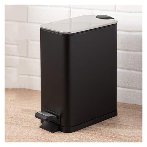 KGDC Mülleimer Creative-Thin-Abdeckung Edelstahl-Papierkorb Haushalt Pedal Mülleimer mit Deckel rechteckig Trash Can, 11L / 2,9 Gallon Müllbehälter Abfalleimer fürs Bad (Color : Black)