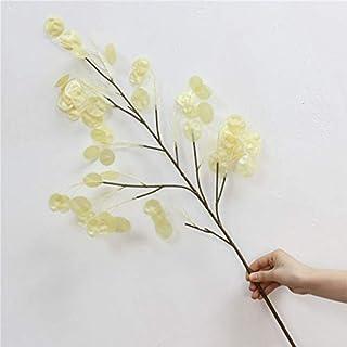 df7f743d88 Bureze Nordic - Abanico de Plata con Flores Artificiales, 105 cm, para  decoración de