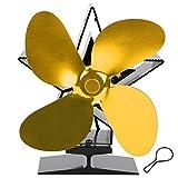 Yencoly Ventilador de Estufa de leña, Ventilador ecológico de energía térmica, Ventilador de Calor para Chimenea, Duradero para el hogar Mejora la distribución de(Golden)