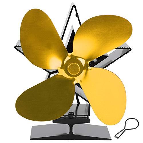 Cocosity Ventilador de Calor para Chimenea, Ventilador de Estufa Ventilador de Estufa de leña de diseño fácil de Usar Ventilador de Calor, Industrial para Uso doméstico(Golden)