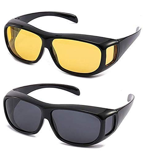 waqif HD Vision Day and Night Unisex HD Vision Goggles Anti-Glare Polarized Sunglasses Men/Women Driving Glasses Sun Glasses UV Protection All Bikes & Car Drivers - Set of 2 Glass/Goggles