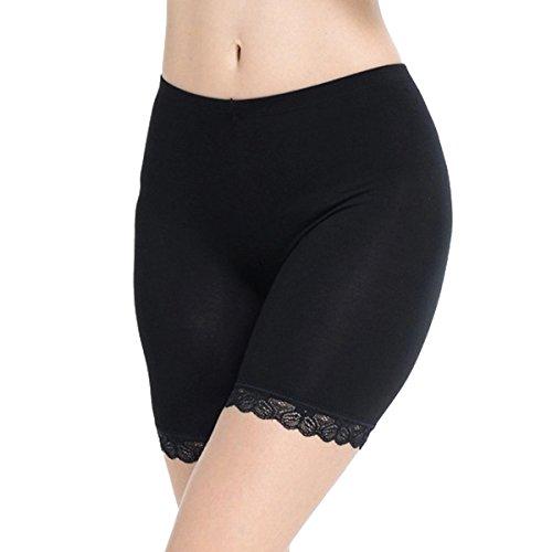 TININNA: faja pantalón para mujer, remate de bordado, en algodón Negro  XL