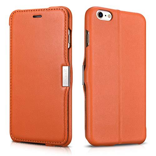Cover in pelle, per Apple iPhone 5 / 5S e iPhone 6, apertura laterale, ultraslim, in vera pelle Arancione Orange - Glattleder iPhone 6 Plus (5.5 Zoll)