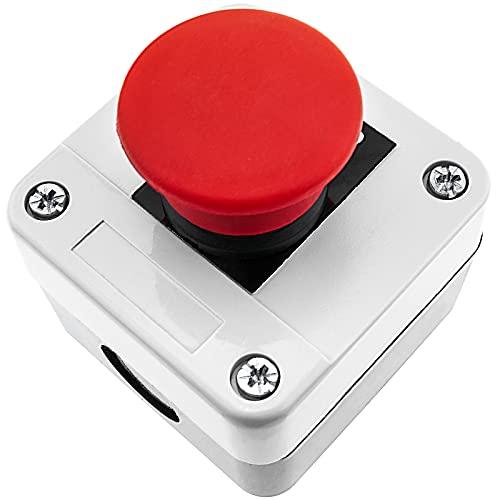 BeMatik - Caja de pulsador de Parada de Emergencia sin Bloqueo NC Stop