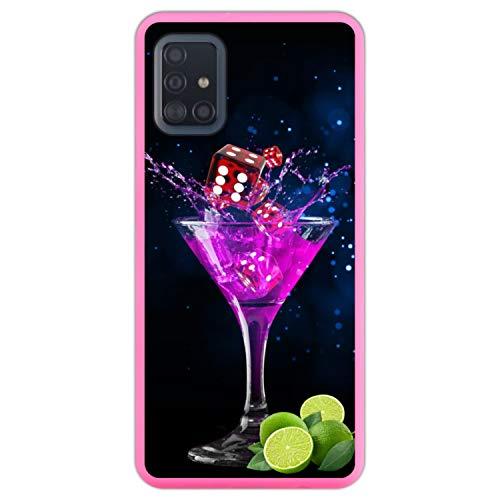 Telefoonhoesje voor [ Samsung Galaxy A51 ] tekening [ Partij, kleurrijke cocktail met limoen en dobbelstenen ] Roze TPU flexibele siliconen schaal