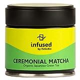 Ceremonial Matcha Infused by HelloBio | USDA Organic Superior Ceremonial Matcha | Authentic Japanese Green Tea Powder | 1st Harvest | 1.06oz Tin