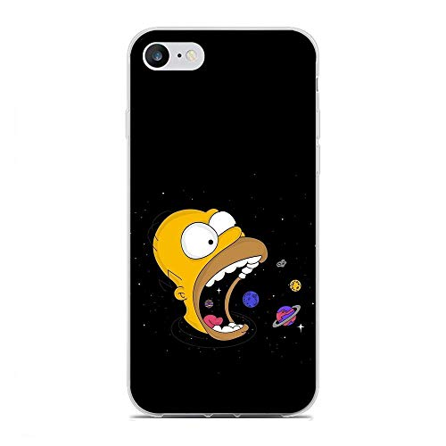 Clear Silicone TPU Matte Anti-Shock Coque Cover Case for Apple iPhone 6 Plus/6s Plus-Funny-Bart Homer-Simpson Black 7