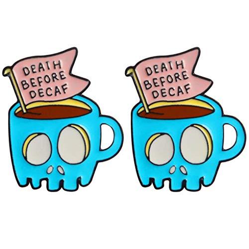 CoSunny Death Before Decaf Anstecknadeln 2 Stück Set Totenkopf Kaffeetasse Emaille Brosche Anstecknadel Anstecker Freunde Geschenke
