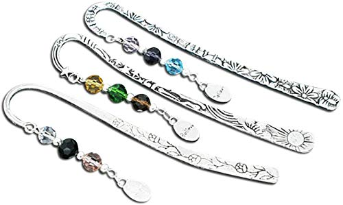 HOUSWEETY Beaded Charm Bookmarks, with Crystal Glass Quartz, Believe Dangle Beads, 3 Pcs, Silver Tone