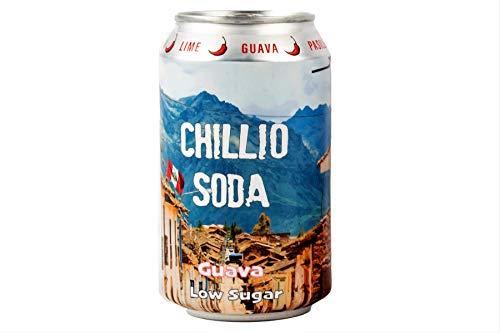 CHILLIO Guava, Prickly Pear, Mela, Lime e Pasilla Chilli, Soda artigianale non alcolica - basso contenuto di zucchero, basso contenuto calorico, senza additivi. 6 x 330 ml.