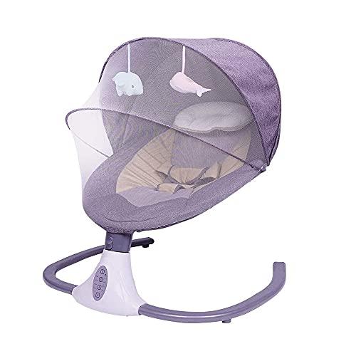 Cuna EléCtrica Para BebéS, SillóN Reclinable Para Dormir Con Control Remoto Y Cuna Con MúSica Bluetooth, Para NiñOs De 0 A 18 Meses Con Mosquitera Y Almohada, Rosa
