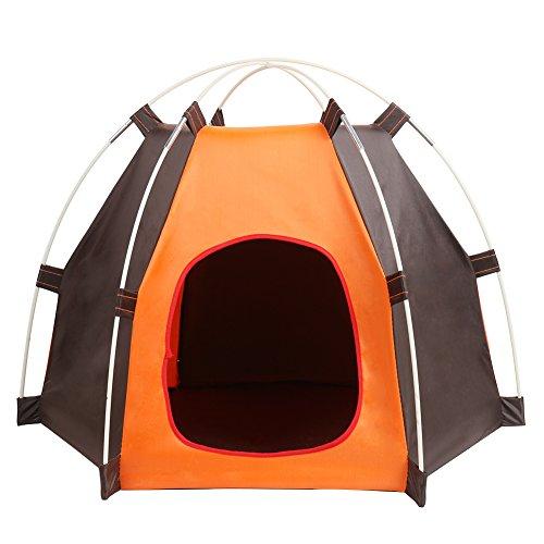 Tienda Plegable Portátil Para Perros Casa de Gato Casa con Cama, Animales Impermeables al Aire Libre Refugio Wigwam, Viajes Camping Jaula Para Mascotas en Entrada Puerta Tamaño 7.8*9.4 inch