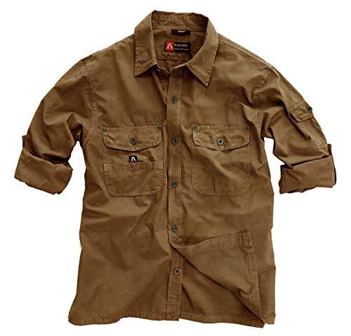Kakadu Traders Australia Safari Camicia da viaggio con maniche lunghe e roll-up, articolo speciale tabacco L