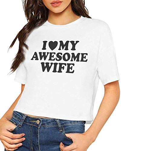 SHX-Shop Womens I Love My Awesome Wife Crop Tops T-Shirt