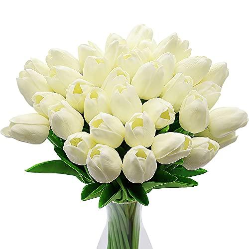 Tulipanes Artificiales, 10 Piezas de Flores de Tulipanes de Seda Artificial, Ramos de Tulipanes de Color Rosa Claro / Rojo / Blanco para la Oficina, la Boda, la Decoración de Fiestas (Blanco)