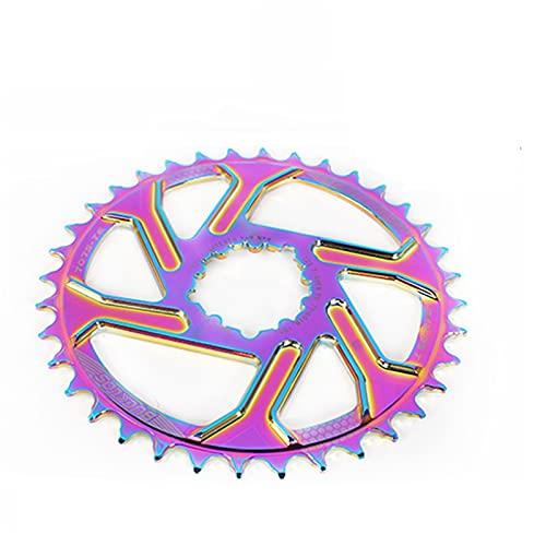 MENGGOO CIRANKSET Rainbow Offset Offset 3MM CAILING Aluminio DE Aluminio DE Aluminio 7075-T6 32-38T para GXP XX1 X9 XO X01 Piezas de Bicicleta (Color : 34T)