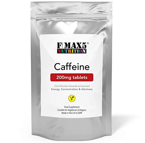 Formula Max 5 Caffeine Tablets - Pure 200mg Maximum Potency Caffeine Energy 100 Tablets - Strong Caffeine Pills for Energy Boost & Alertness