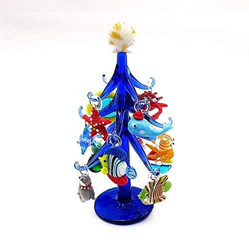 Handgemaakte donkerblauwe Murano glas kerstboom vorm ornament huis Aquarium decoratie met 12st Marine Animal beeldje hanger, diepblauw