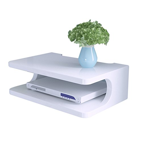 Meng Wei Shop Regale Ablagen Set-Top-Box Regal TV-Wandschrank Wohnzimmer Wandregal Wand Schlafzimmer Partition Router Aufbewahrungsbox (Color : Weiß, Size : 30 * 20 * 10cm)