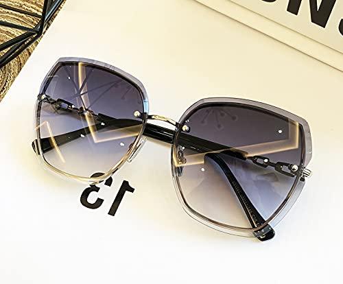 N+A Randlose Damen Sonnenbrille-mit schön case -Beliebte cool Aussehen-Wählen können Zwei Farben(grau/kaffeebraun)-Eine gepflegte Technik -Übergroße randlose Diamant-Schneidlinse(grau)